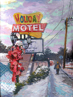 Powerlines Painting - Holiday Motel by Dale Knaak