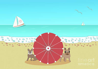 Digital Art - Holiday Romance Behind The Red Umbrella by Beverley Brown