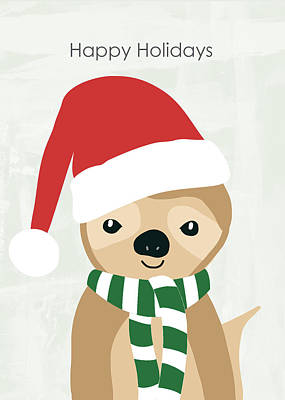 Holiday Sloth- Design By Linda Woods Art Print by Linda Woods