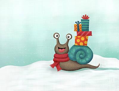 Digital Art - Holiday Snail by Lisa Norris