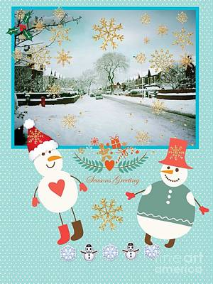 Mixed Media - Holiday Snow Greeting by Joan-Violet Stretch