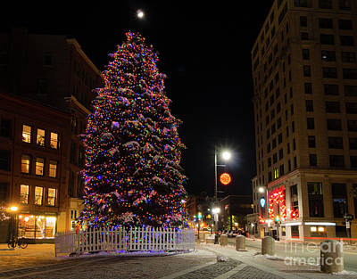 Photograph - Holiday Tree In Monument Square, Portland, Maine  -94562 by John Bald