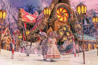Christmas Holiday Scenery Digital Art - Holiday Village by Betsy Knapp