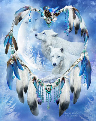 Holiday Wolves Art Print by Carol Cavalaris