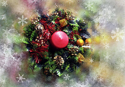 Photograph - Holiday Wreath by Judi Saunders