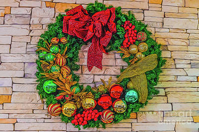 Digital Art - Holiday Wreath by Ray Shiu