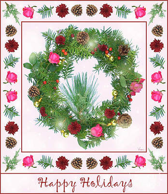 Digital Art - Holiday Wreath With Roses And Carnations by Lise Winne