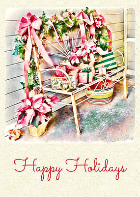 Photograph - Holidays - Decorated Bench by Gabriele Pomykaj