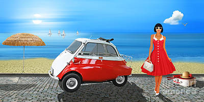 Oldtimer Mixed Media - Holidays In The 60s by Monika Juengling