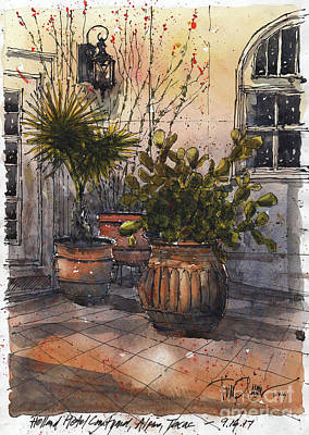 Painting - Holland Hotel Courtyard by Tim Oliver