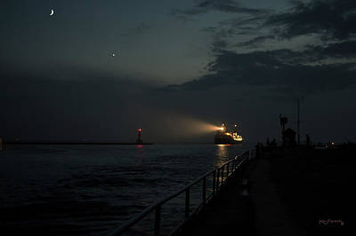 Photograph -  Holland Michigan Inlet  With Freighter by Ken Figurski
