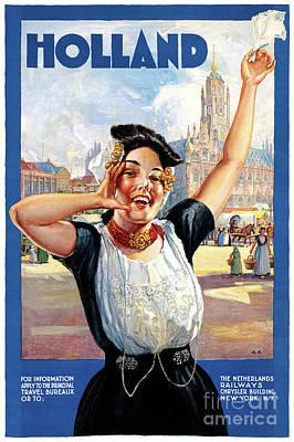 Airways Mixed Media - Holland Netherlands Restored Vintage Travel Poster by Carsten Reisinger