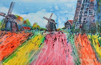 Painting - Holland Windmills by Zaira Dzhaubaeva