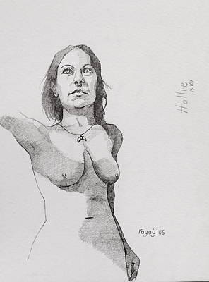 Drawing - Hollie In Pen by Ray Agius