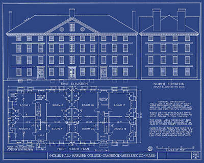 Harvard Drawing - Hollis Hall - Harvard - Cambridge, Ma - Circa 1762 by Wall Artifact