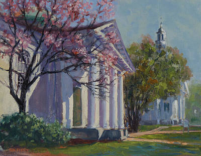 Painting - Hollis Social Library In Spring by Ken Fiery
