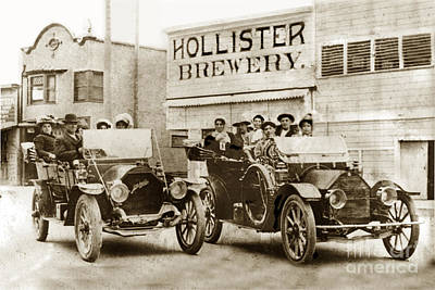 Photograph - Hollister Brewery On San Benito St. With Two Cars by California Views Archives Mr Pat Hathaway Archives