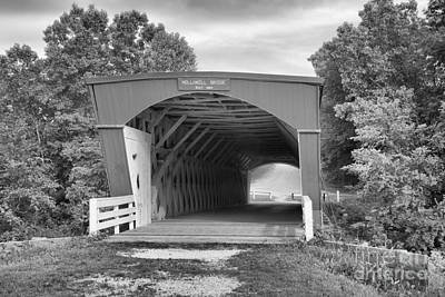 Photograph - Holliwell Covered Bridge Black And White by Adam Jewell