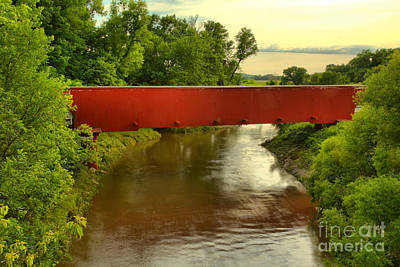 Photograph - Holliwell Covered Bridge Sunset by Adam Jewell