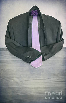 Ties Mixed Media - Hollow Man With Purple Tie by Svetlana Sewell