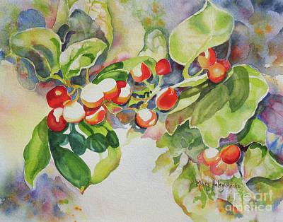 Painting - Holly Berries by Mary Haley-Rocks