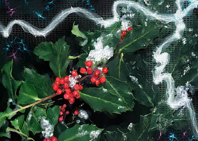 Digital Art - Holly Christmas 2017 by Susan Kinney