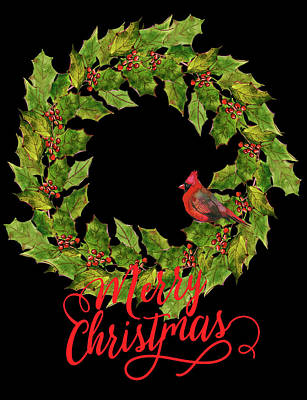 Digital Art - Holly Christmas Wreath And Cardinal by HH Photography of Florida