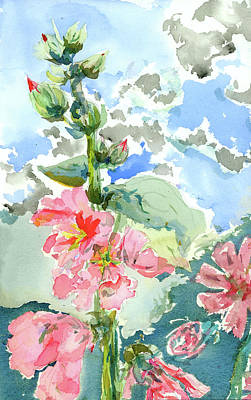Holly Hocks Painting - Holly Hock I by Ned Walker