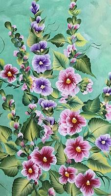 Animals Paintings - Holly Hocks by Cheryl Wolf