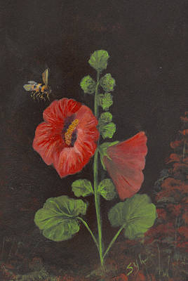 Holly Hocks Painting - Holly-hocks  by Syl Lobato