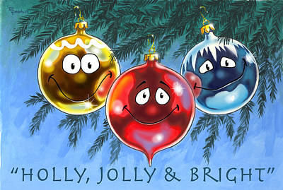 Whimsical Digital Art - Holly Jolly And Bright by Richard De Wolfe