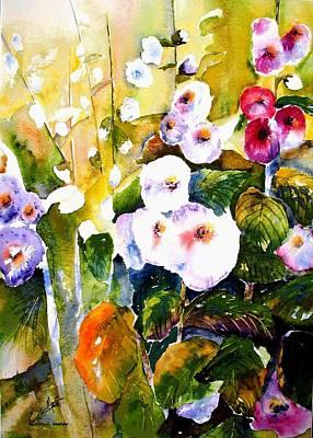 Hollyhock Garden 1 Art Print
