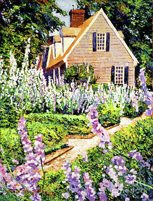Cottage Country Painting - Hollyhock House by David Lloyd Glover