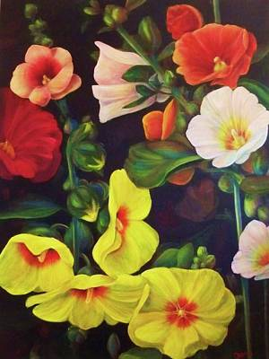 Painting - Hollyhocks 2 by Dana Redfern