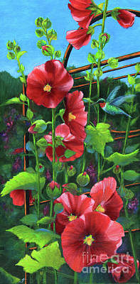 Painting - Hollyhocks And Hummingbird by Jeanette French