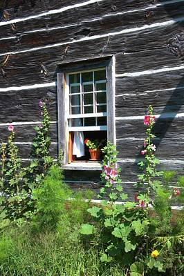 Photograph - Hollyhocks By Log House Window by Valerie Kirkwood