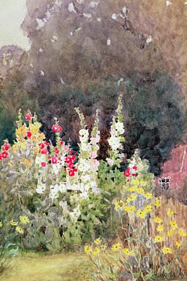 Hollyhocks Art Print by Helen Allingham