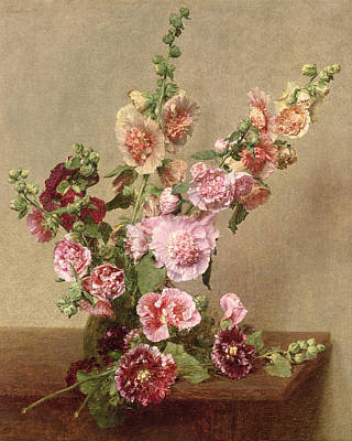 Stalk Painting - Hollyhocks by Ignace Henri Jean Fantin Latour