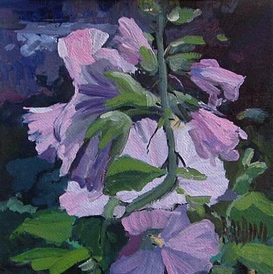 Painting - Hollyhocks by J R Baldini