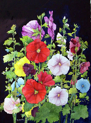 Painting - Hollyhocks by Ken Marsden