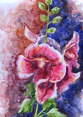 Hollyhock Painting - Hollyhocks by Marsha Elliott