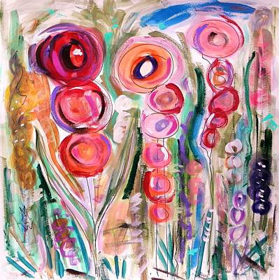 Hollyhocks Of The Garden Art Print by Mary Carol Williams