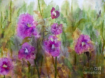 Hollyhocks Art Print by Vicki  Housel
