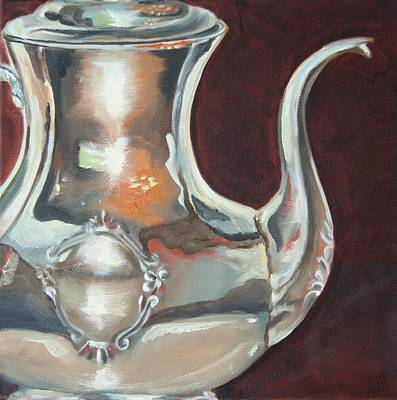 Silver Tea Pot Painting - Holly's Sterling Coffee Pot by Amy Higgins