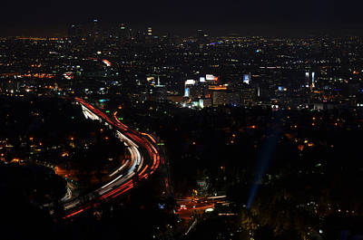 Hollywood Bowl Photograph - Hollywood Bowl Overlook At Night by Wallace Bridges