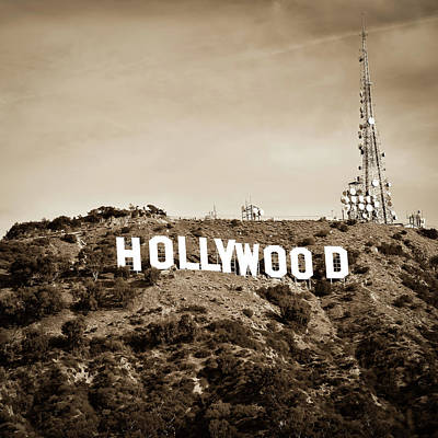 Photograph - Hollywood California Sign In Sepia - Square Format by Gregory Ballos