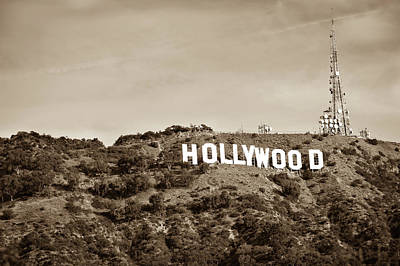 Photograph - Hollywood California Sign On Mountain - Sepia Edition by Gregory Ballos