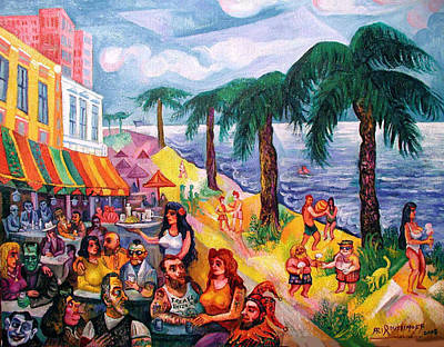 Painting - Hollywood Florida Beach Cafe by Ari Roussimoff
