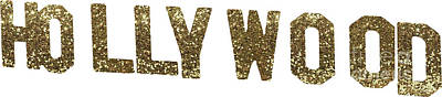 Hollywood Gold Glitter Sign Art Print