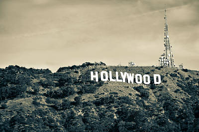 Photograph - Hollywood Hills California - Los Angeles In Sepia by Gregory Ballos